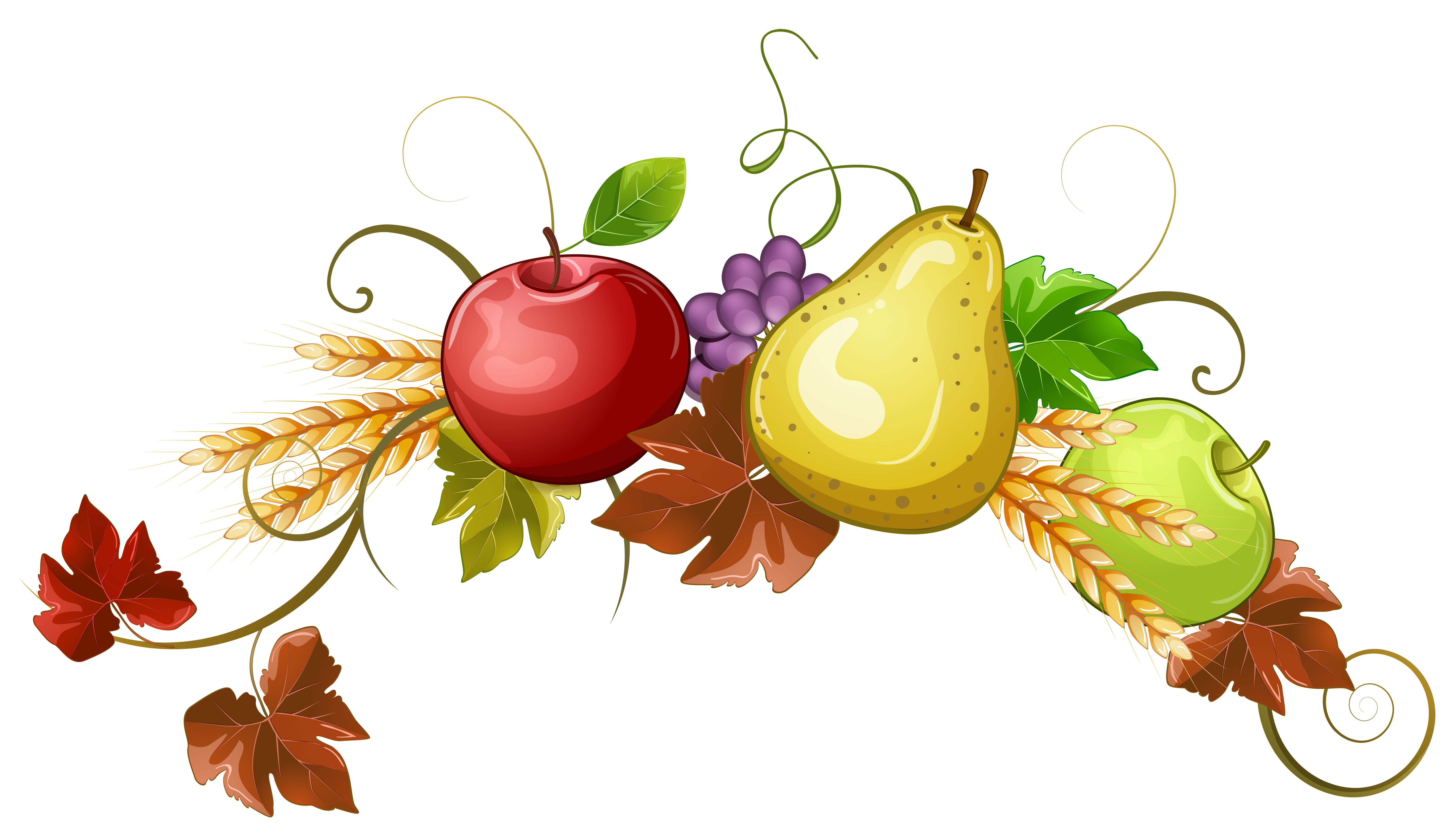 Autumn Fruits Decoration Clipart PNG Image.
