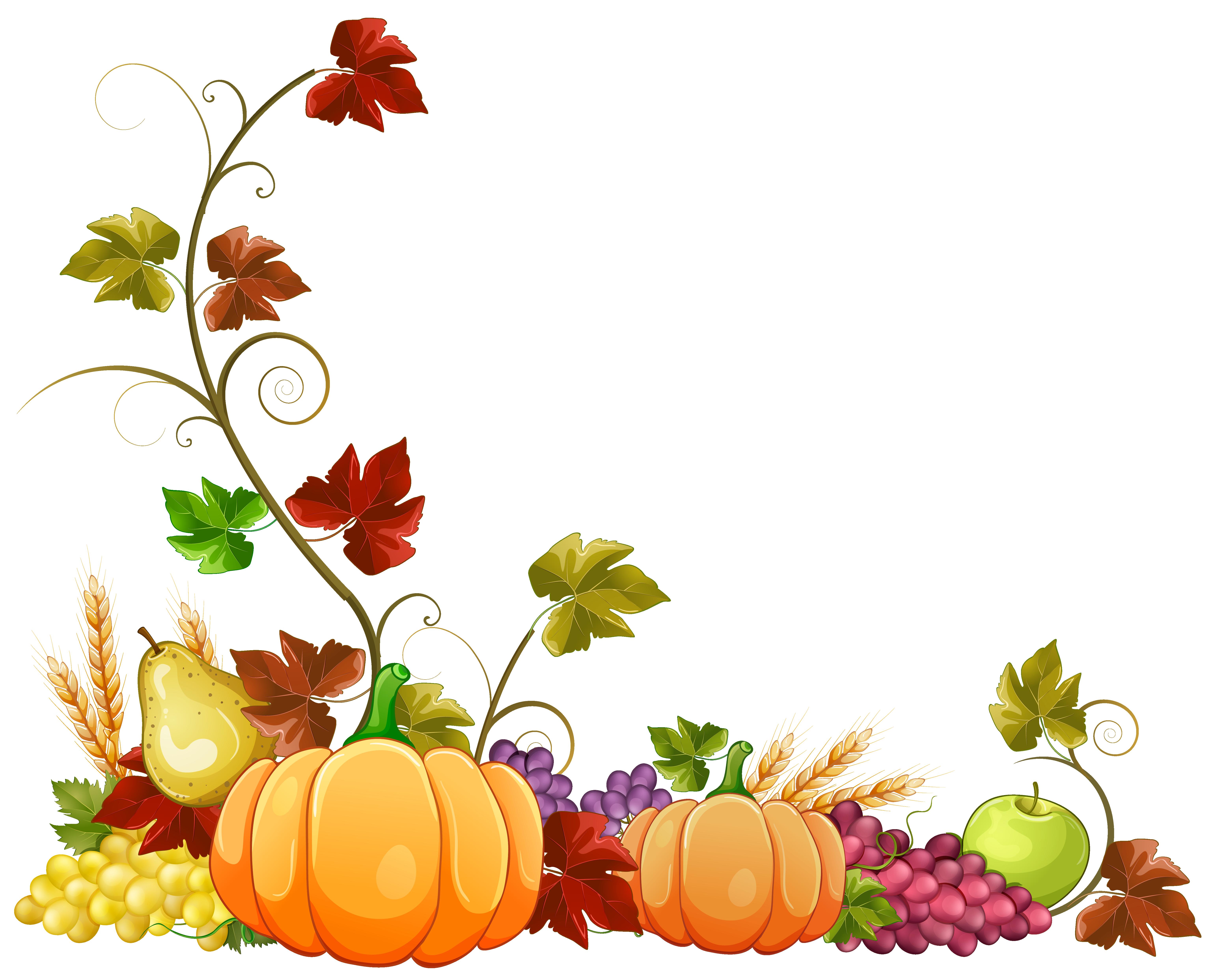 Autumn Pumpkin Decoration Clipart PNG Image.