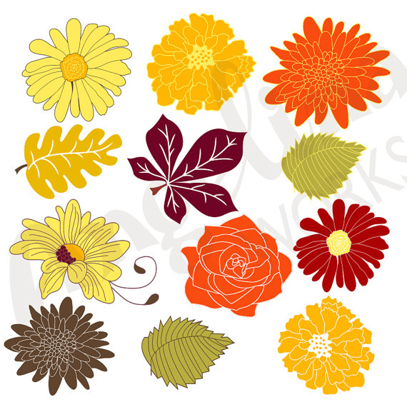 Autumn Flowers Clip art background. Digital floral clip art. by.