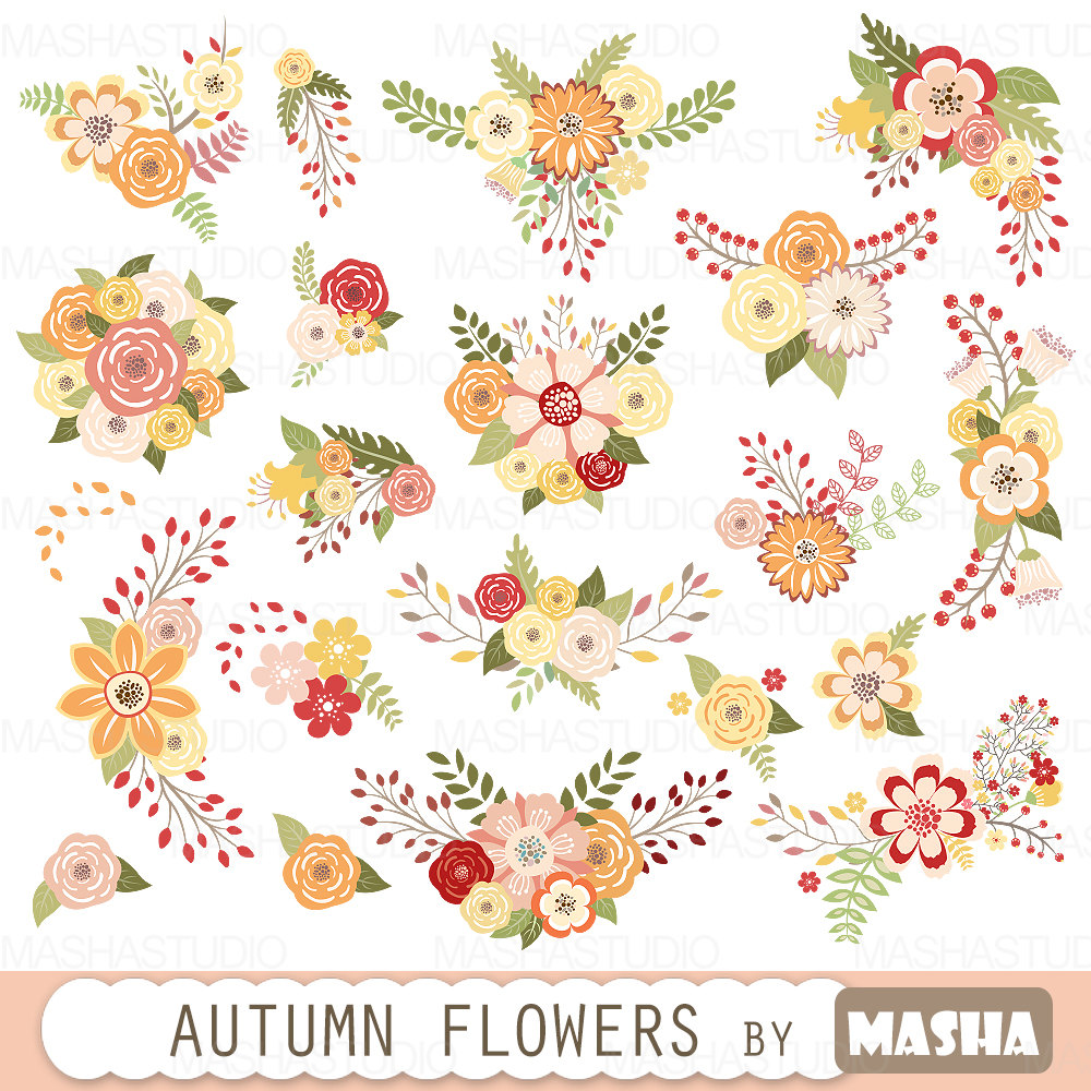"Autumn flowers clipart: ""AUTUMN FLOWERS"" with fall color flowers."