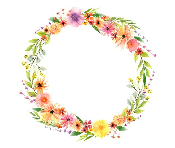 Watercolor autumn flowers floral wreath watercolor clipart.