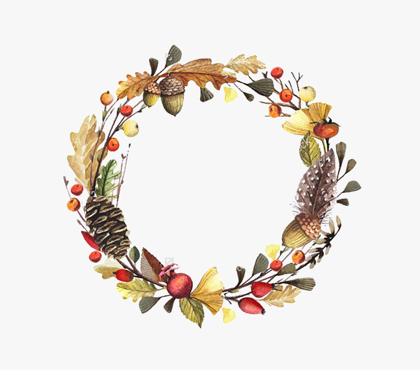 Fall Flower Wreath Clipart, HD Png Download , Transparent.
