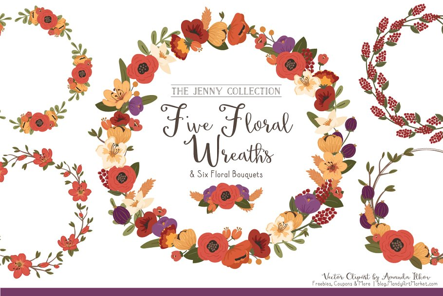 Floral Vector Wreaths in Autumn ~ Illustrations ~ Creative.