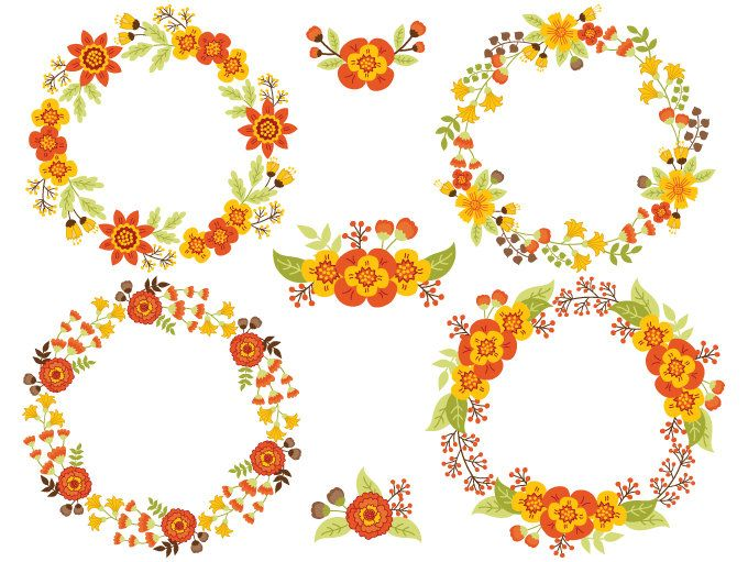 70% OFF SALE Floral Wreath Clipart.