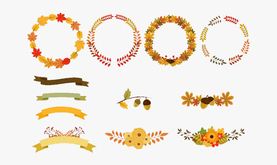 Wreath Autumn Flower Clip Art.