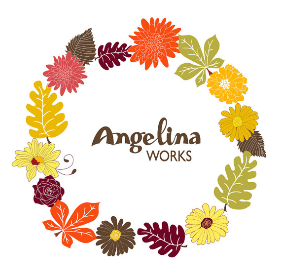 Items similar to Autumn Flowers Wreath Clip art background.