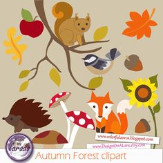 Fall clipart, Autumn Forest clipart, Fall Leaves Clip Art, Autumn.