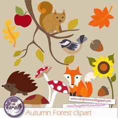 Fall clipart, Autumn Forest clipart, Fall Leaves Clip Art, Autumn.
