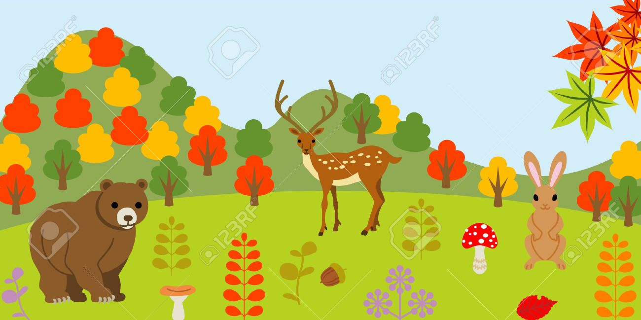 Animals In Autumn Forest Royalty Free Cliparts, Vectors, And Stock.