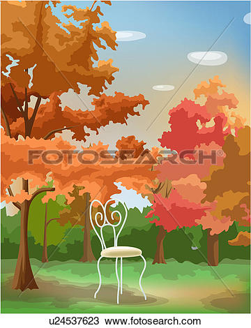 Drawing of Chair in autumn forest u24537623.