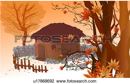 Clip Art of Small House in an Autumn Forest u17868692.