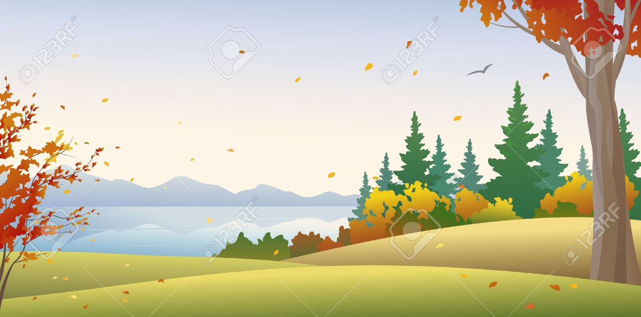 Vector Illustration Of An Autumn Forest Royalty Free Cliparts.