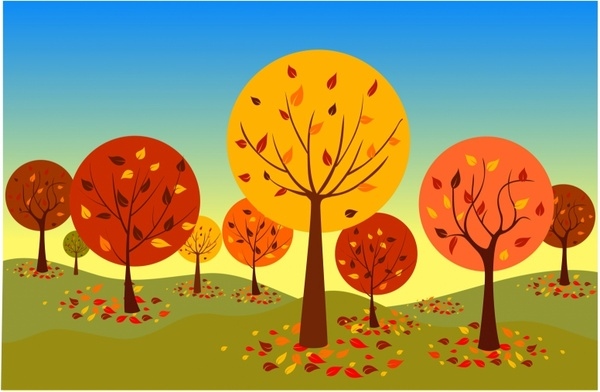 Autumn forest clipart.
