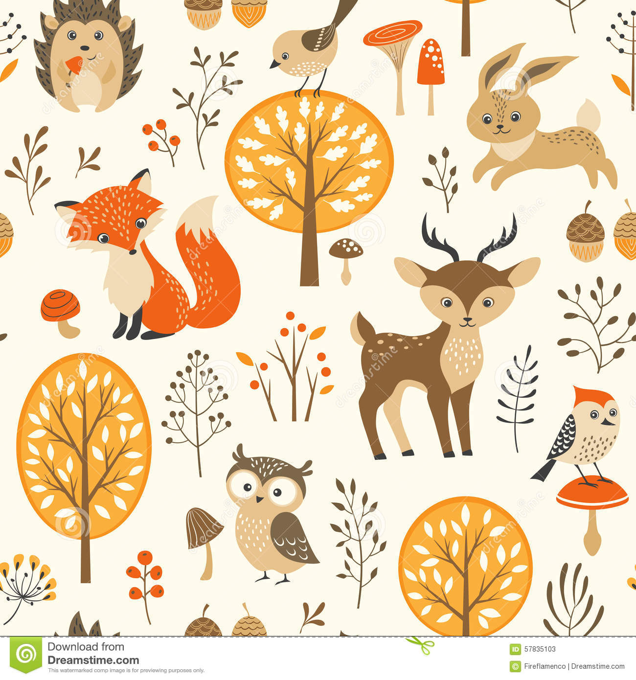 Cute Autumn Forest Pattern Stock Vector.