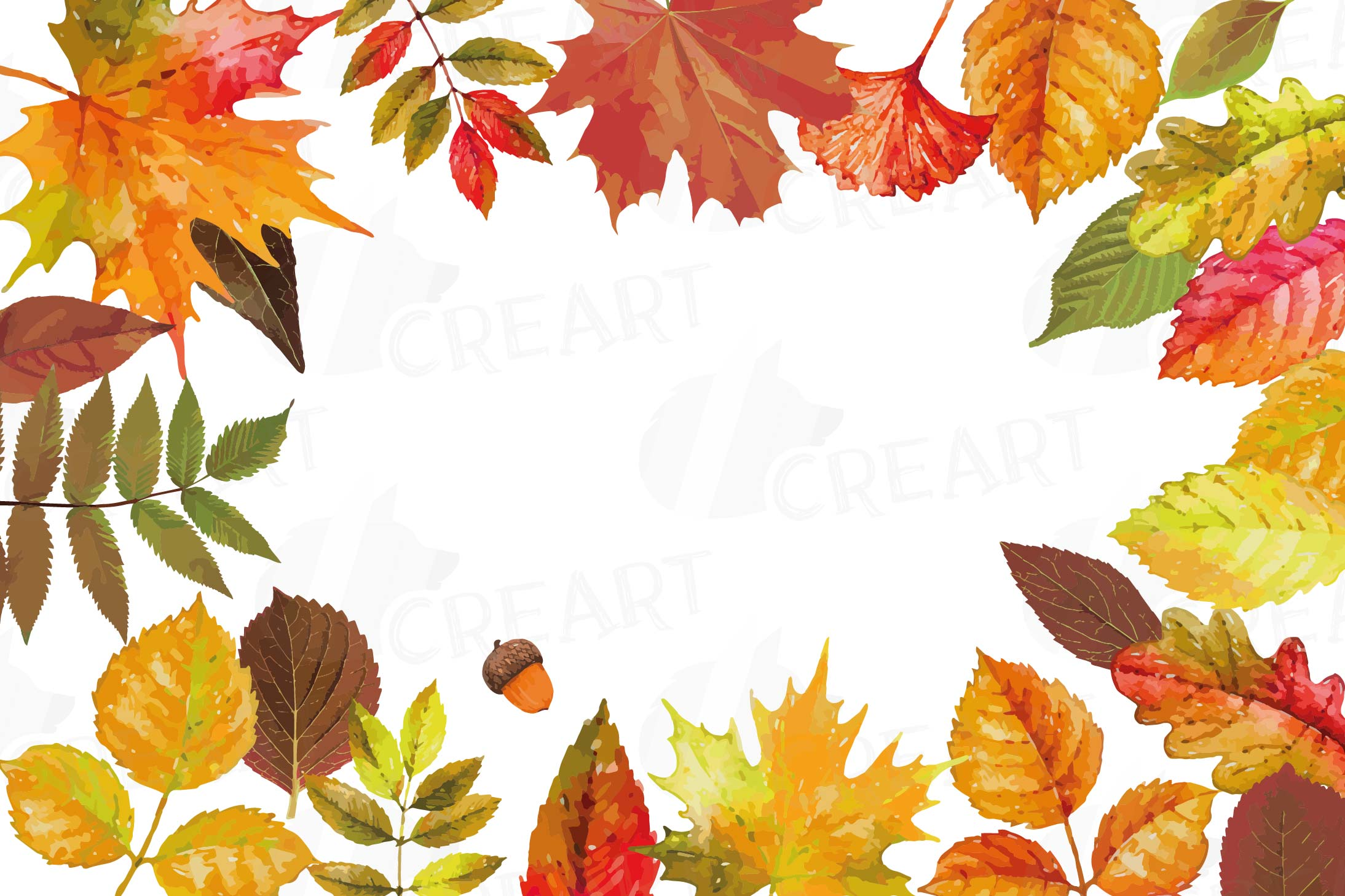 Autumn leafs watercolor clip art pack, watercolor fall frame.