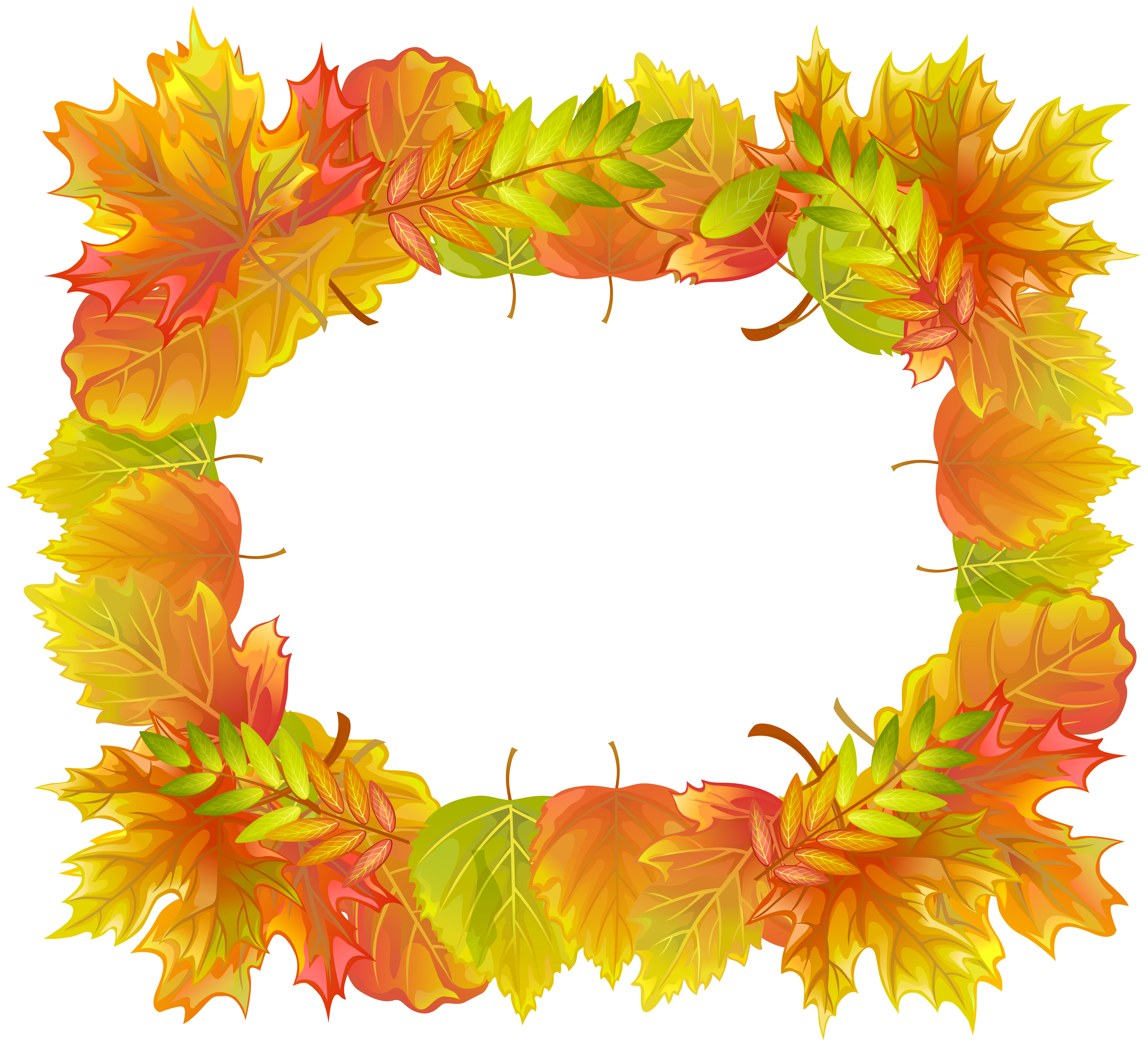 Autumn Leafs Border Frame PNG Clipart Image.