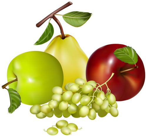 Basket with fruits and Autumn Leaves PNG Clipart Image.