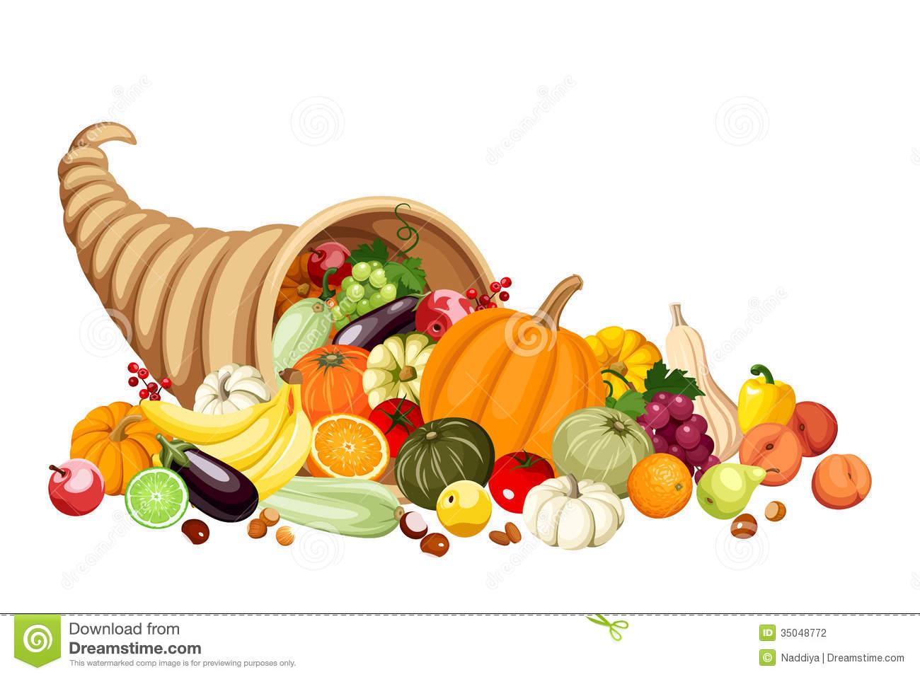 Autumn Cornucopia (horn Of Plenty) With Fruits And Stock.