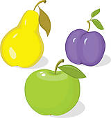 Clipart of Autumn collection of ripe fruit k12170863.