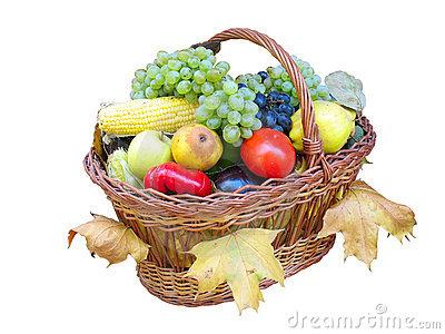 Basket With Autumn Fruit Royalty Free Stock Photo.