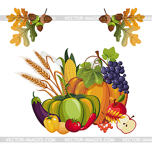 of Vegetables and Fruits, with Autumn Leaves.