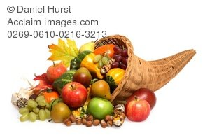 Stock Photo of Cornucopia Full of Autumn Fruits and Vegetables.