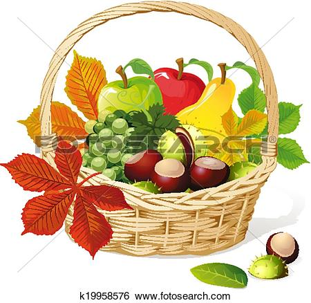 Clip Art of Basket with autumn fruit k19958576.