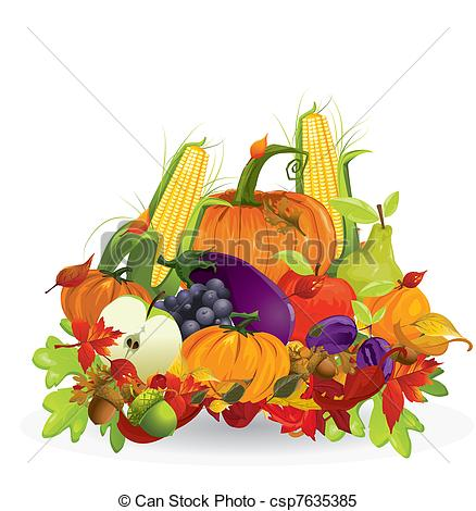 Clipart Vector of Autumn vegetable and fruits.