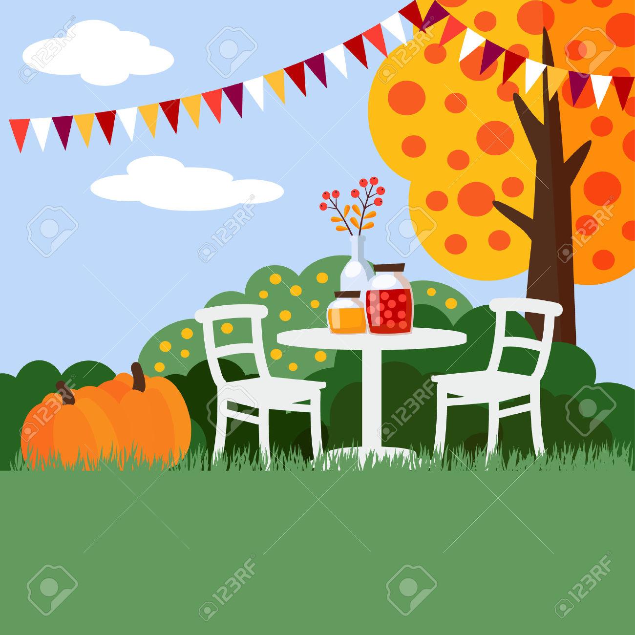 Autumn, Fall Garden Party Background, Flat Design, Vector.