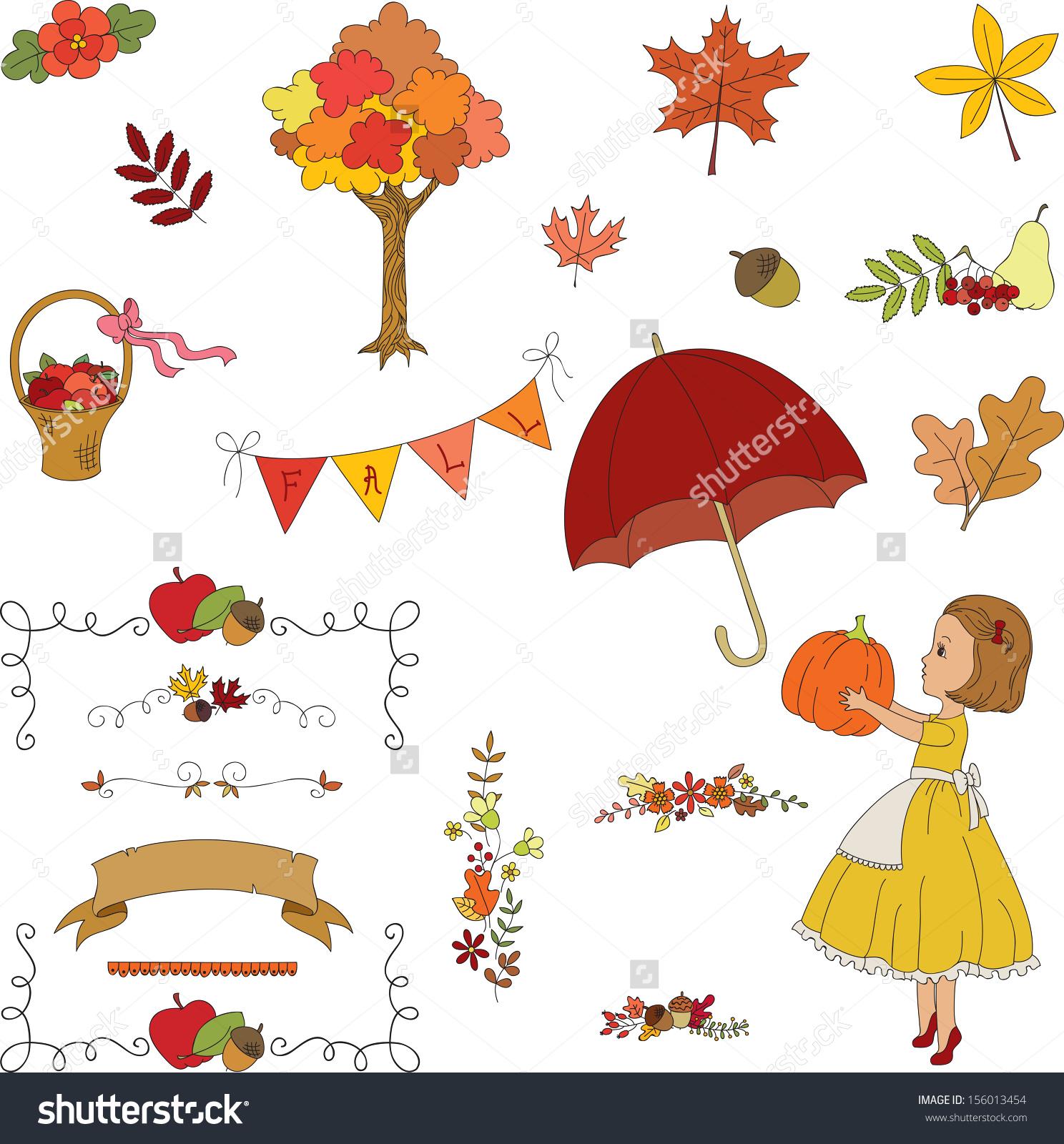 Autumn Garden Hand Drawn Clipart Borders Stock Vector 156013454.
