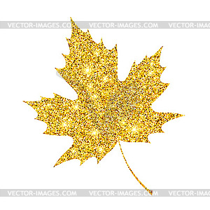 glitter textured fall leaf. Autumn gold.