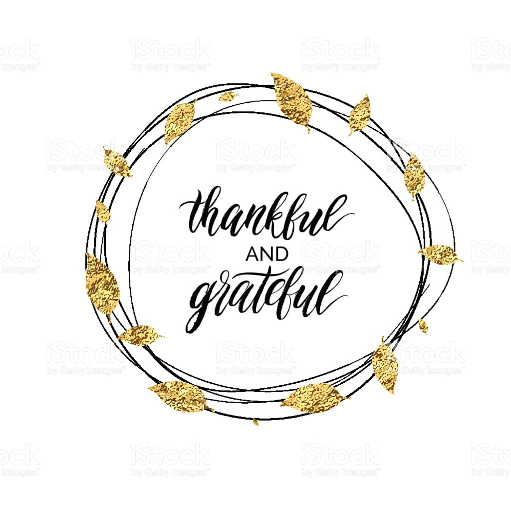 Thankful And Grateful Text In Autumn Gold Wreath Of Leaves stock.
