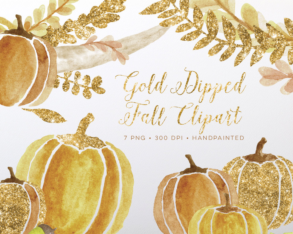 Fall Clipart Watercolor Gold Glitter with Pumpkins, Laurels and.