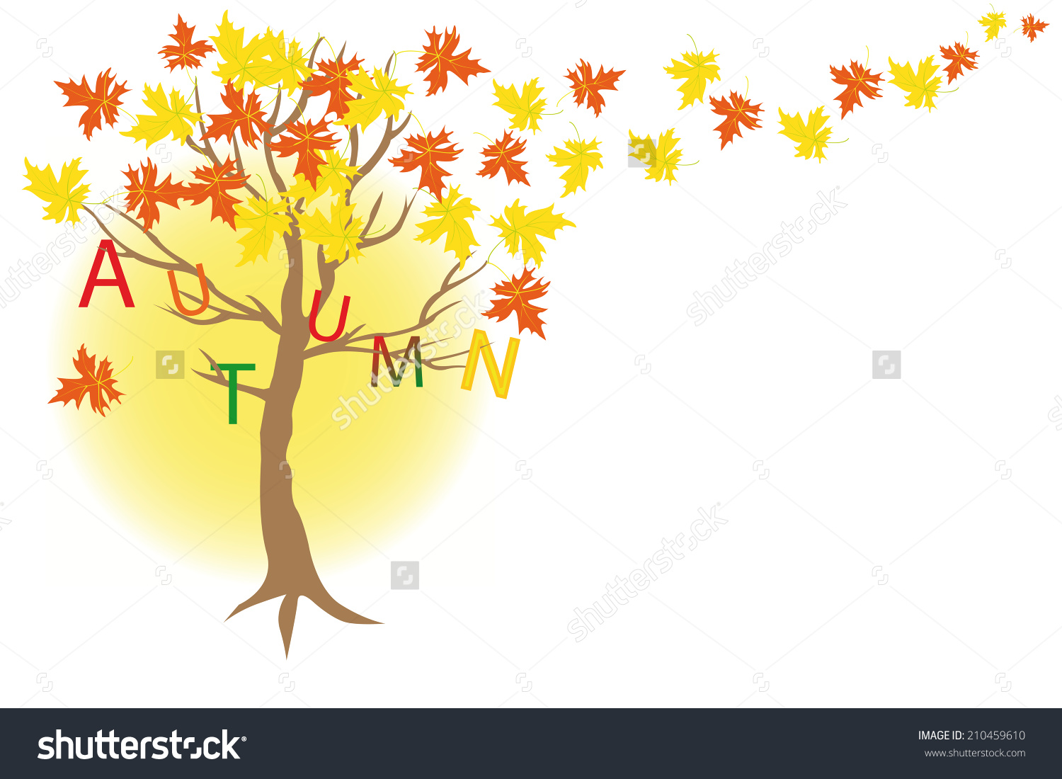 Autumn Gold Tree Maple Letters Autumn Stock Vector 210459610.