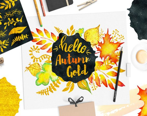 Clipart, Fall Clipart, Autumn Gold Clipart, Handpainted Watercolor.