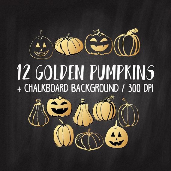 SALE Gold Pumpkin Clipart Gold Halloween by FunClipArtStudio.