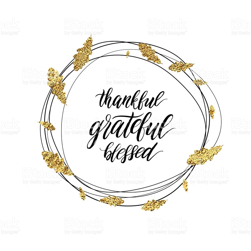 Grateful Blessed Thankful Text In Autumn Gold Shiny Wreath stock.