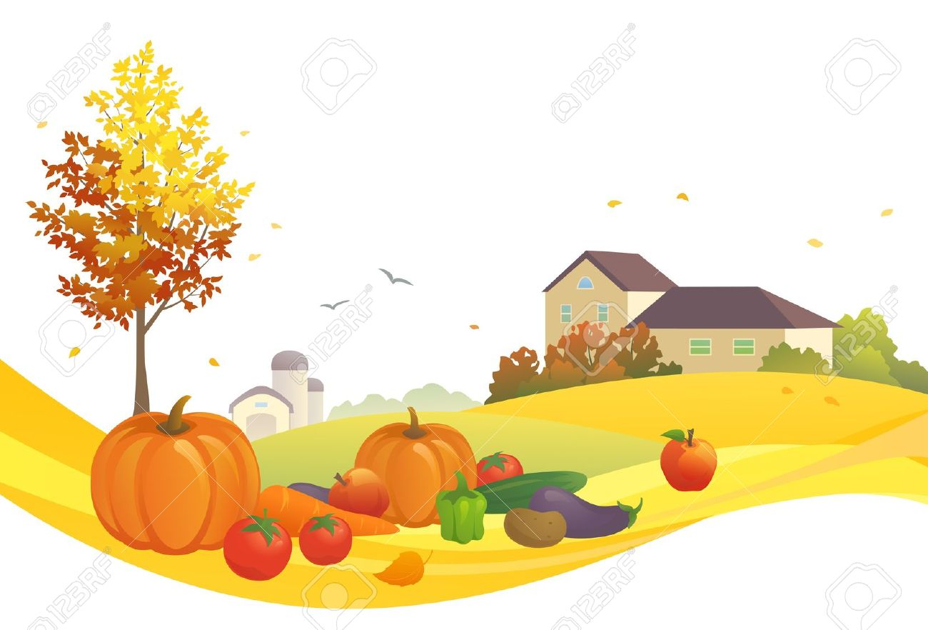 Vector Illustration Of An Autumn Harvest Royalty Free Cliparts.