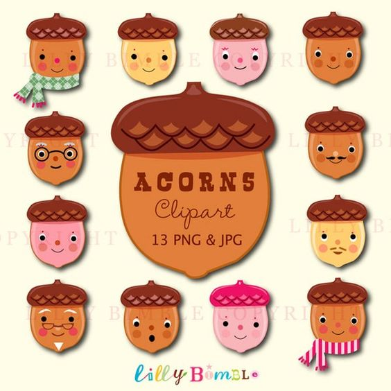 ACORNS cute clipart for holiday crafts in png and by LillyBimble.