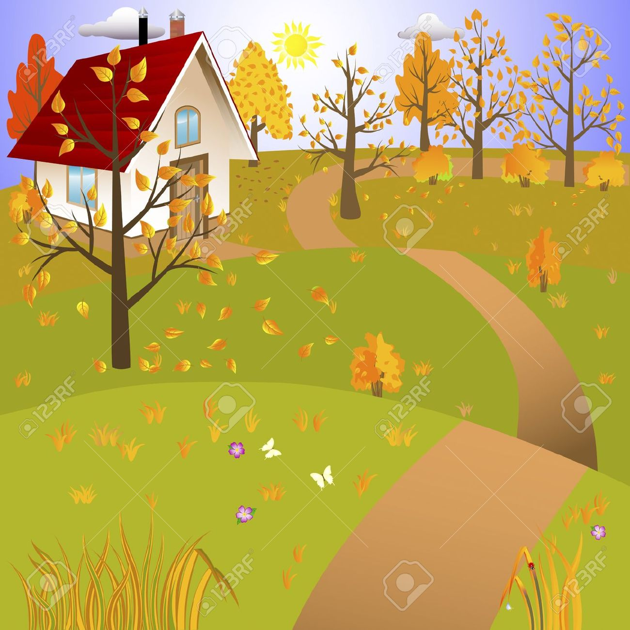 House on landscape clipart vector.