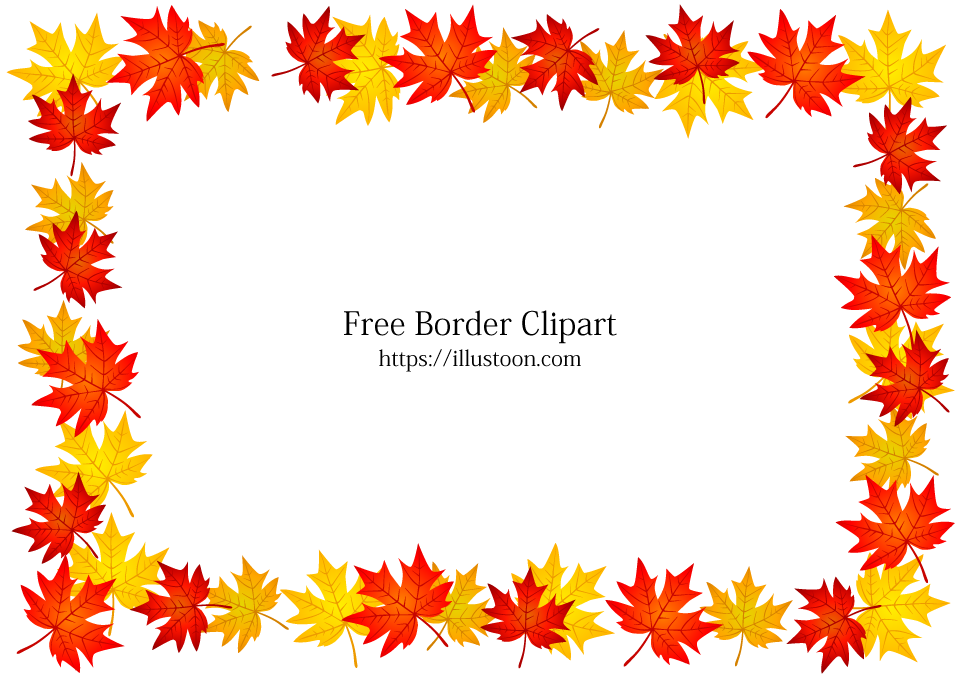 Free Autumn Leaves Border Image|Illustoon.
