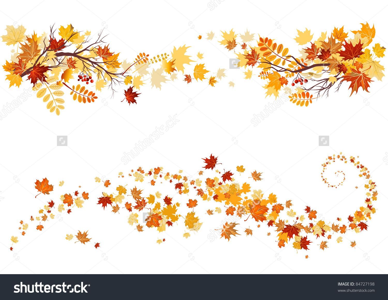 Autumn Leaves Border Stock Vector Illustration 84727198.