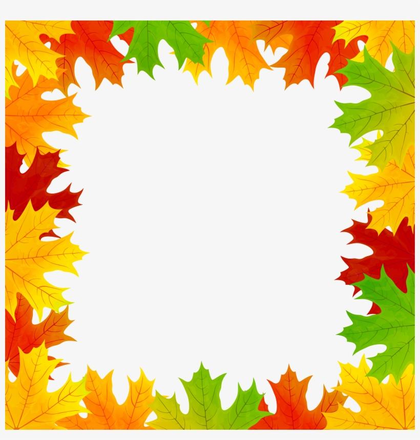 Fall Leaves Border Frame Png Clip Art Image.