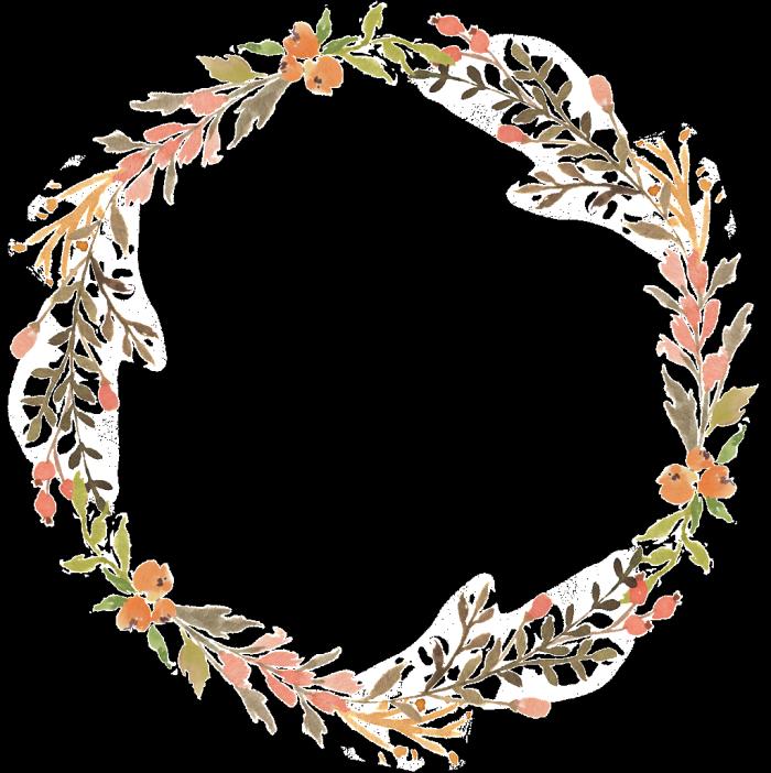 Floral wreath watercolor transparent decorative.