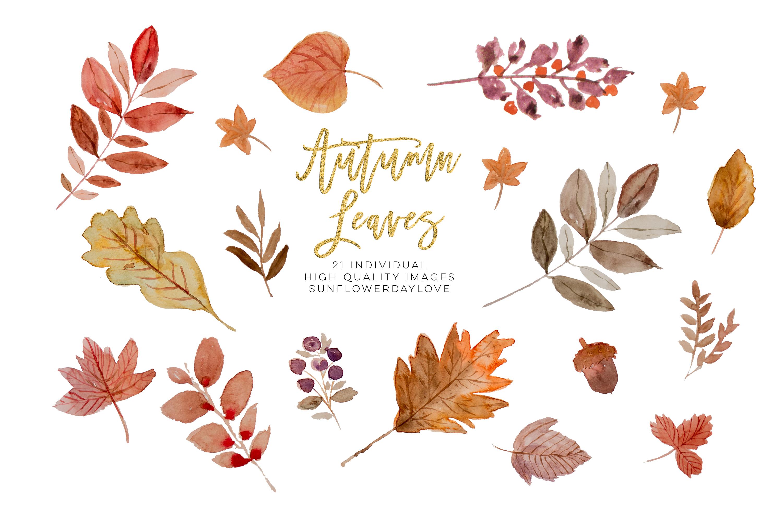 Watercolor autumn leaves ClipArt wreath.
