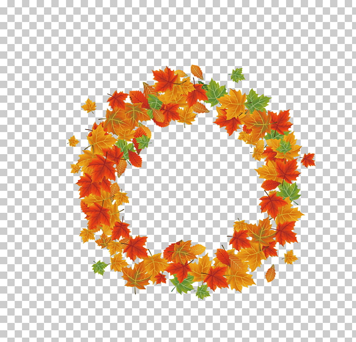 Autumn Leaf, Autumn Leaves Wreath, red, green, and yellow.
