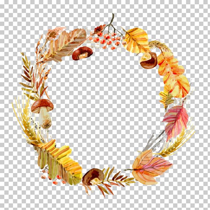 Wreath Leaf, autumn wreath, brown dried leaf wreath.