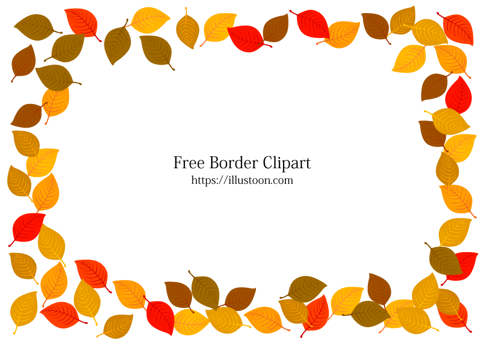 Free Fallen Autumn Leaves Border Image|Illustoon.