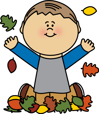 Boy Playing in Autumn Leaves Clip Art.