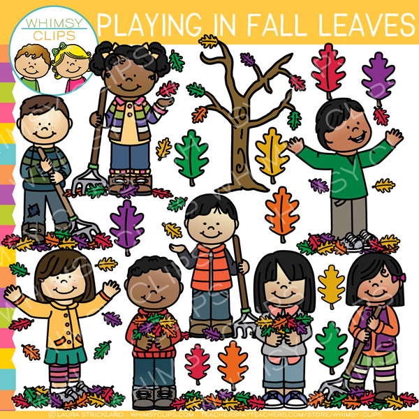 Playing in Fall Leaves Clip Art.